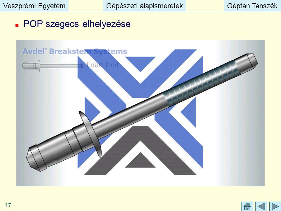 Veszprémi EgyetemGépészeti alapismeretekGéptan TanszékVeszprémi EgyetemGépészeti alapismeretekGéptan Tanszék 17 POP szegecs elhelyezése