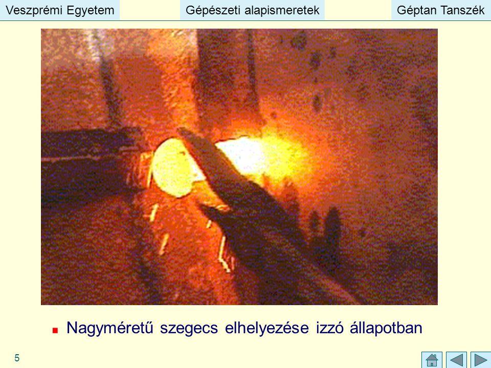 Veszprémi EgyetemGépészeti alapismeretekGéptan TanszékVeszprémi EgyetemGépészeti alapismeretekGéptan Tanszék 5 Nagyméretű szegecs elhelyezése izzó áll