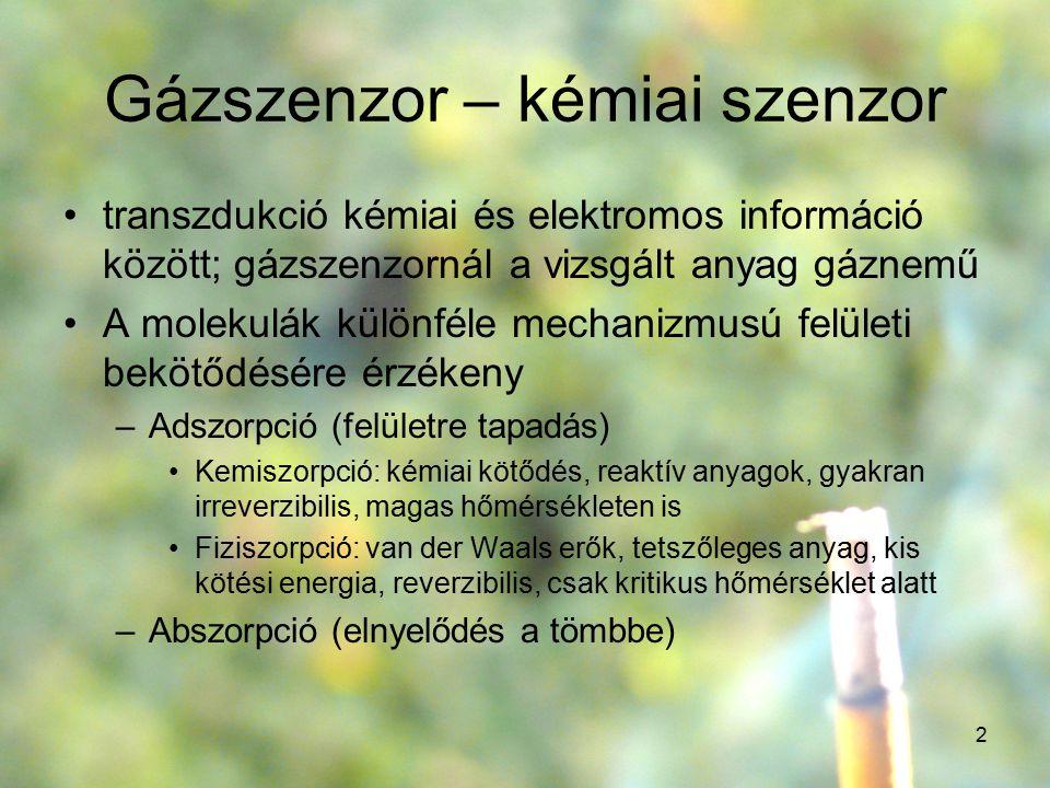 2 Gázszenzor – kémiai szenzor transzdukció kémiai és elektromos információ között; gázszenzornál a vizsgált anyag gáznemű A molekulák különféle mechan