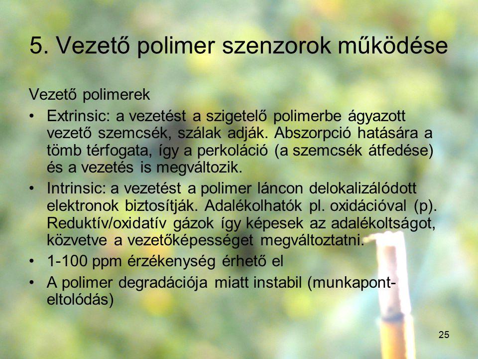 25 5. Vezető polimer szenzorok működése Vezető polimerek Extrinsic: a vezetést a szigetelő polimerbe ágyazott vezető szemcsék, szálak adják. Abszorpci