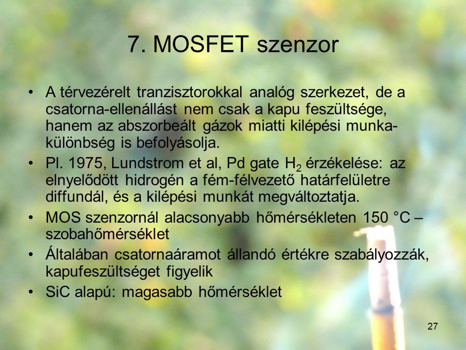 27 7. MOSFET szenzor A térvezérelt tranzisztorokkal analóg szerkezet, de a csatorna-ellenállást nem csak a kapu feszültsége, hanem az abszorbeált gázo