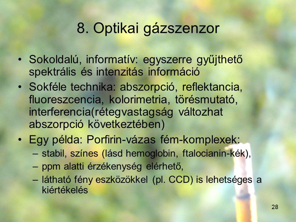 28 8. Optikai gázszenzor Sokoldalú, informatív: egyszerre gyűjthető spektrális és intenzitás információ Sokféle technika: abszorpció, reflektancia, fl