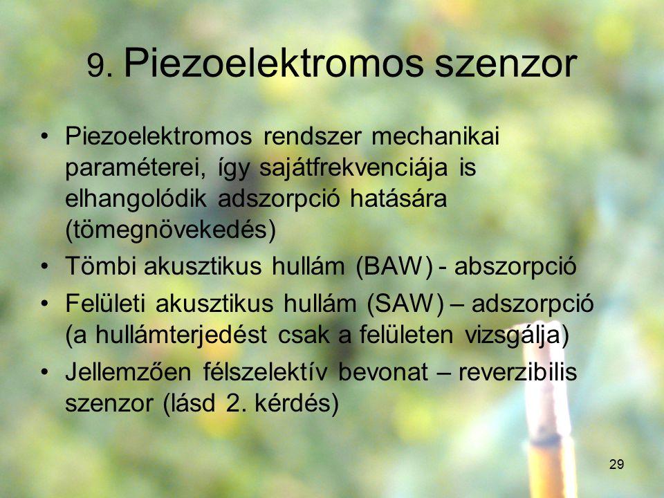 29 9. Piezoelektromos szenzor Piezoelektromos rendszer mechanikai paraméterei, így sajátfrekvenciája is elhangolódik adszorpció hatására (tömegnöveked