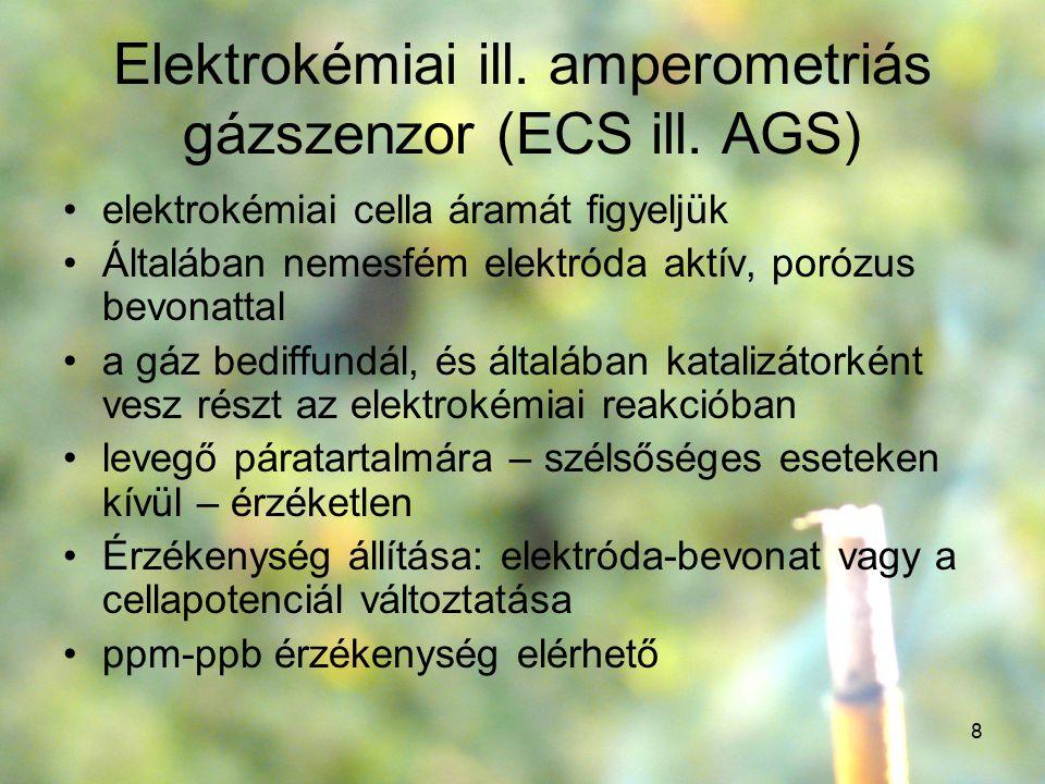 8 Elektrokémiai ill. amperometriás gázszenzor (ECS ill. AGS) elektrokémiai cella áramát figyeljük Általában nemesfém elektróda aktív, porózus bevonatt