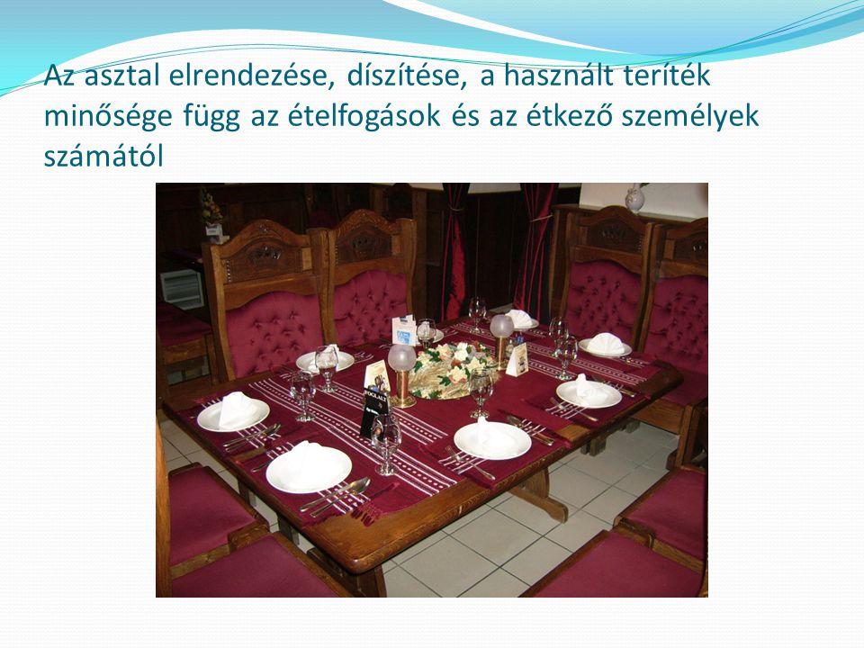 Az asztal elrendezése, díszítése, a használt teríték minősége függ az étkezési alkalomtól. Reggeli Ebéd Vacsora