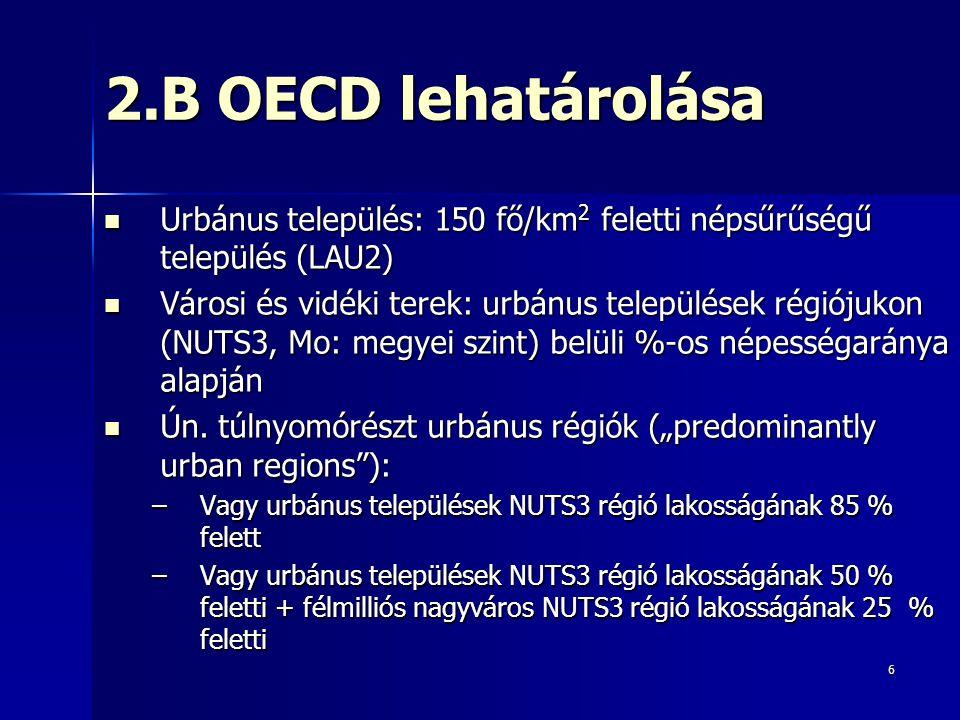 6 2.B OECD lehatárolása Urbánus település: 150 fő/km 2 feletti népsűrűségű település (LAU2) Urbánus település: 150 fő/km 2 feletti népsűrűségű település (LAU2) Városi és vidéki terek: urbánus települések régiójukon (NUTS3, Mo: megyei szint) belüli %-os népességaránya alapján Városi és vidéki terek: urbánus települések régiójukon (NUTS3, Mo: megyei szint) belüli %-os népességaránya alapján Ún.