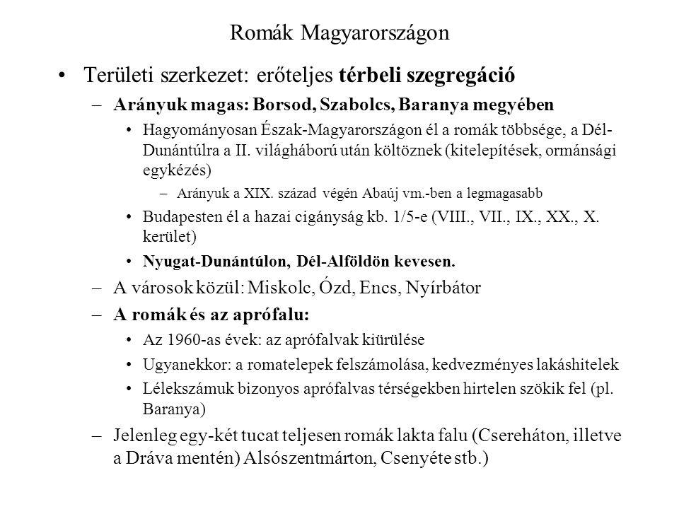 Romák Magyarországon Területi szerkezet: erőteljes térbeli szegregáció –Arányuk magas: Borsod, Szabolcs, Baranya megyében Hagyományosan Észak-Magyarországon él a romák többsége, a Dél- Dunántúlra a II.