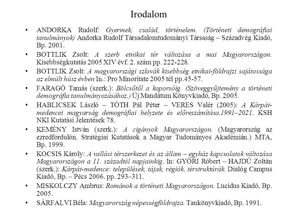 Irodalom ANDORKA Rudolf: Gyermek, család, történelem.