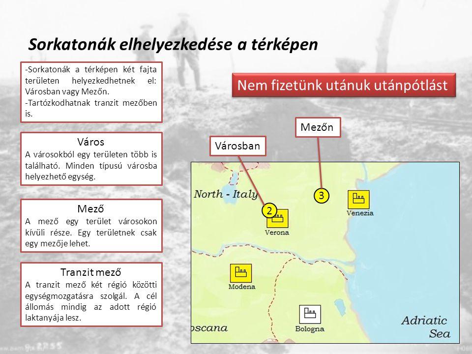 Sorkatonák elhelyezkedése a térképen 3 2 Mezőn Városban Nem fizetünk utánuk utánpótlást -Sorkatonák a térképen két fajta területen helyezkedhetnek el: Városban vagy Mezőn.