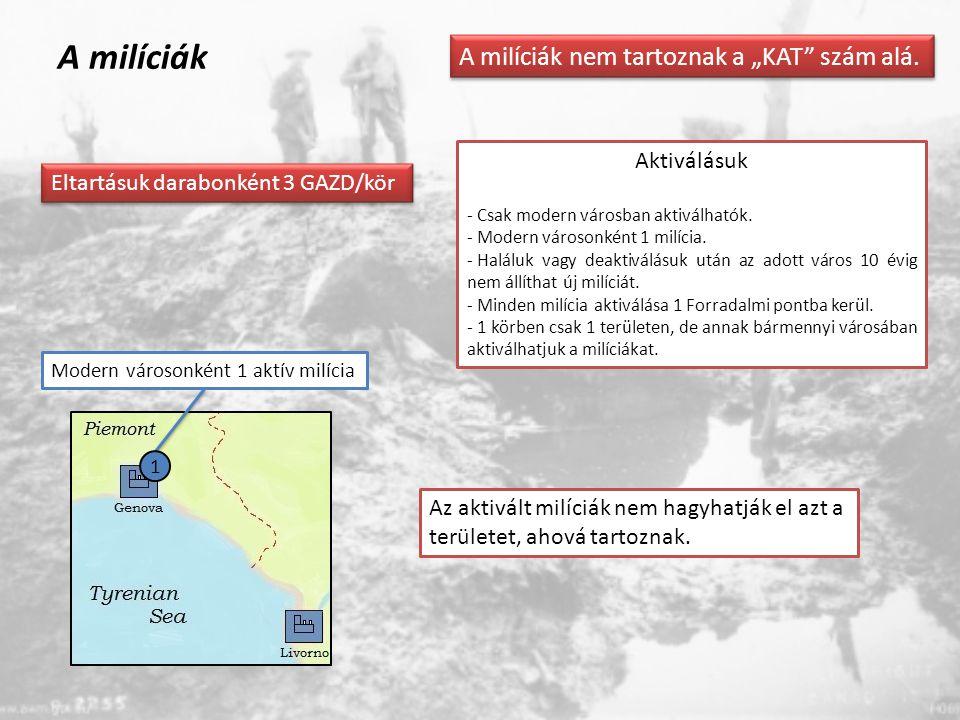 """A milíciák A milíciák nem tartoznak a """"KAT"""" szám alá. 1 Aktiválásuk - Csak modern városban aktiválhatók. - Modern városonként 1 milícia. - Haláluk vag"""
