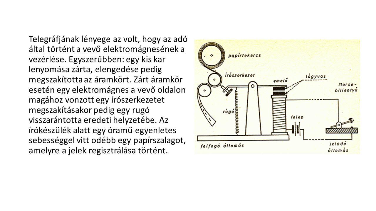A távíró berendezés egyszerű, olcsó (mint a papír, toll).