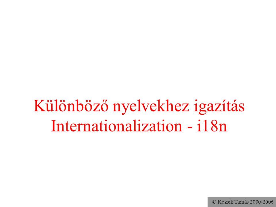 © Kozsik Tamás 2000-2006 Különböző nyelvekhez igazítás Internationalization - i18n