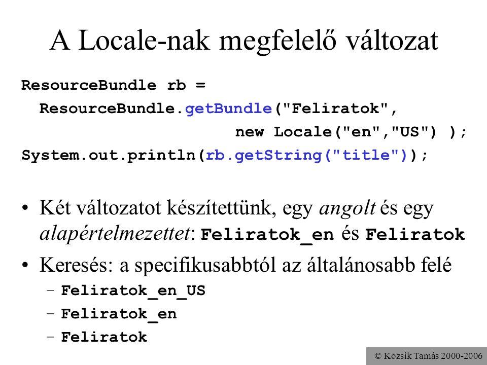 © Kozsik Tamás 2000-2006 A Locale-nak megfelelő változat ResourceBundle rb = ResourceBundle.getBundle( Feliratok , new Locale( en , US ) ); System.out.println(rb.getString( title )); Két változatot készítettünk, egy angolt és egy alapértelmezettet: Feliratok_en és Feliratok Keresés: a specifikusabbtól az általánosabb felé –Feliratok_en_US –Feliratok_en –Feliratok