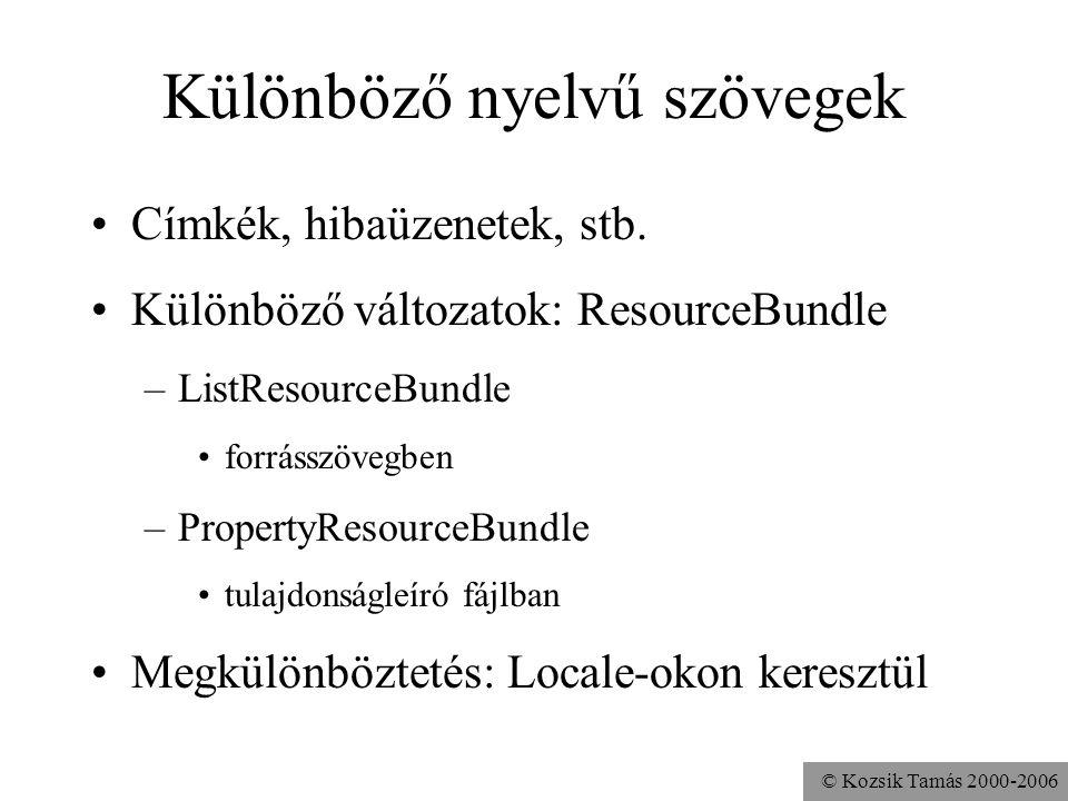 © Kozsik Tamás 2000-2006 Különböző nyelvű szövegek Címkék, hibaüzenetek, stb.