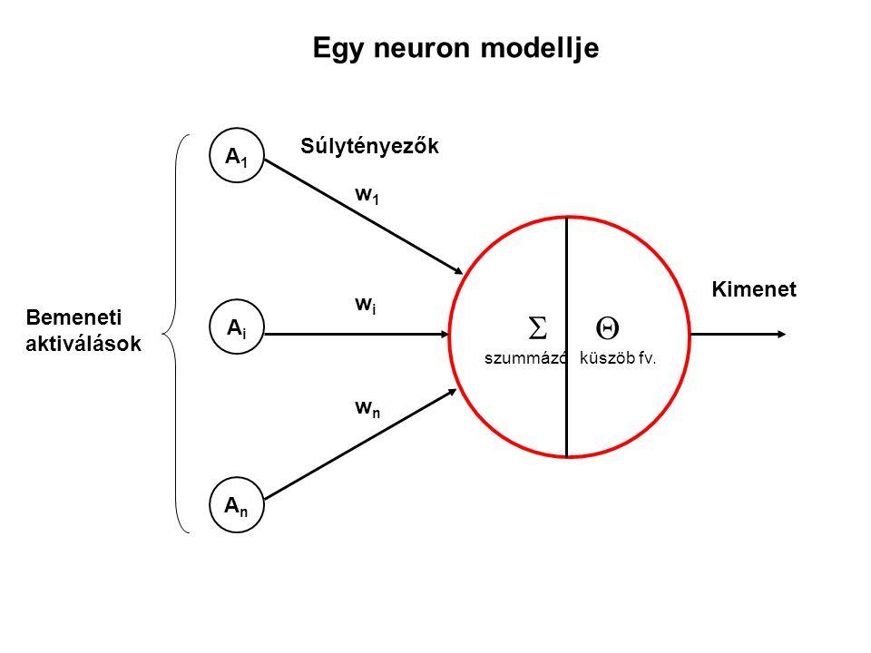   szummázó küszöb fv. w1w1 wiwi wnwn A1A1 AiAi AnAn Kimenet Bemeneti aktiválások Súlytényezők Egy neuron modellje