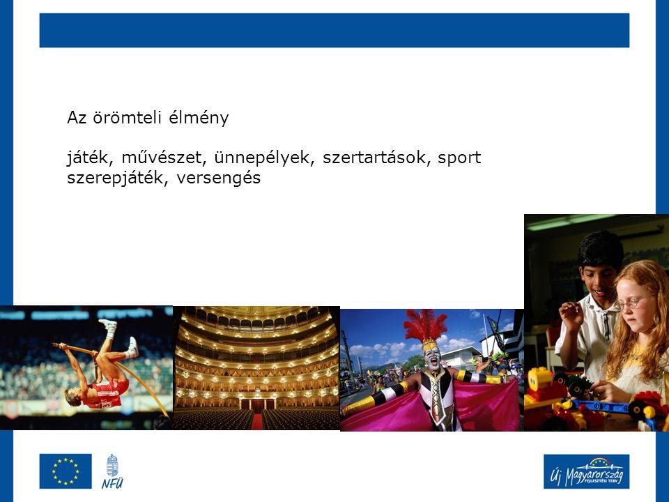 Az örömteli élmény játék, művészet, ünnepélyek, szertartások, sport szerepjáték, versengés