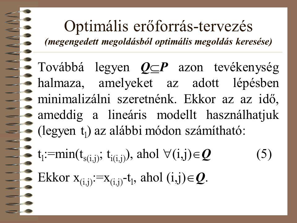 Optimális erőforrás-tervezés (megengedett megoldásból optimális megoldás keresése) Továbbá legyen Q  P azon tevékenység halmaza, amelyeket az adott l