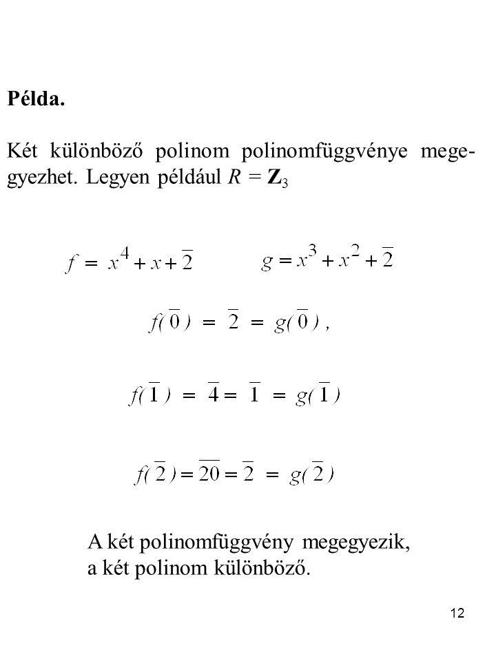 12 Példa.Két különböző polinom polinomfüggvénye mege- gyezhet.
