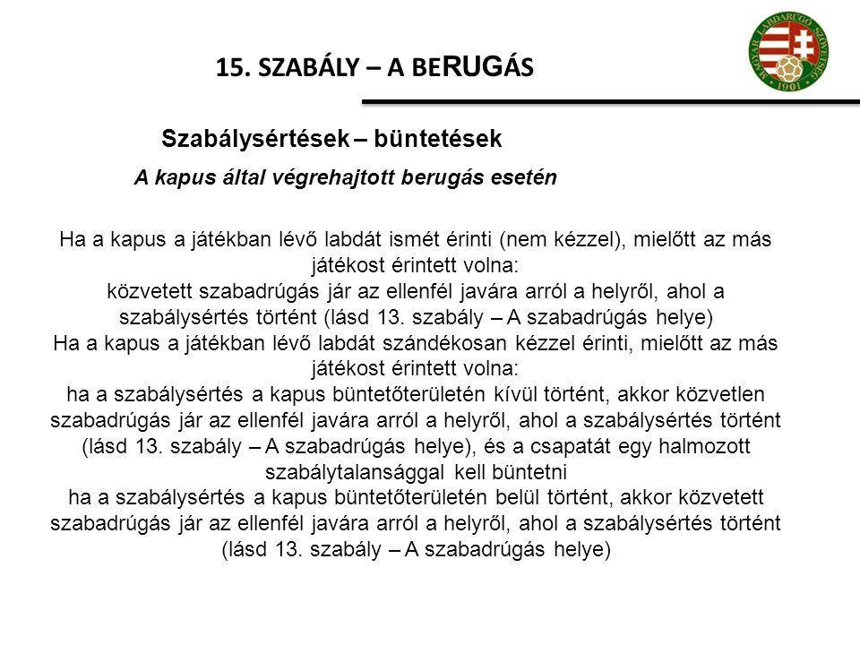 15. SZABÁLY – A BE RUG ÁS Szabálysértések – büntetések A kapus által végrehajtott berugás esetén Ha a kapus a játékban lévő labdát ismét érinti (nem k