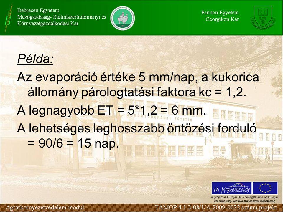 Példa: Az evaporáció értéke 5 mm/nap, a kukorica állomány párologtatási faktora kc = 1,2.