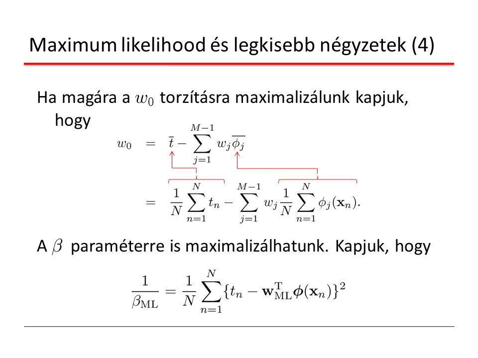 Maximum likelihood és legkisebb négyzetek (4) Ha magára a w 0 torzításra maximalizálunk kapjuk, hogy A ¯ paraméterre is maximalizálhatunk. Kapjuk, hog