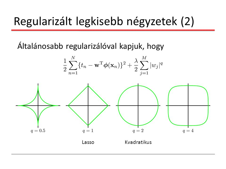 Regularizált legkisebb négyzetek (2) Általánosabb regularizálóval kapjuk, hogy LassoKvadratikus