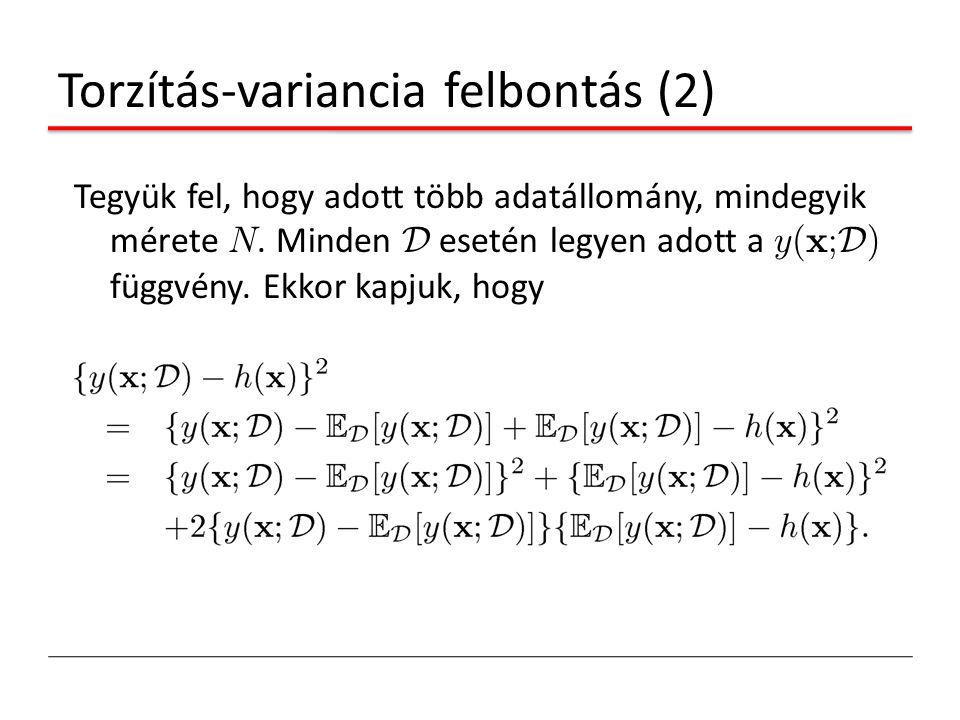 Torzítás-variancia felbontás (2) Tegyük fel, hogy adott több adatállomány, mindegyik mérete N. Minden D esetén legyen adott a y(x; D ) függvény. Ekkor