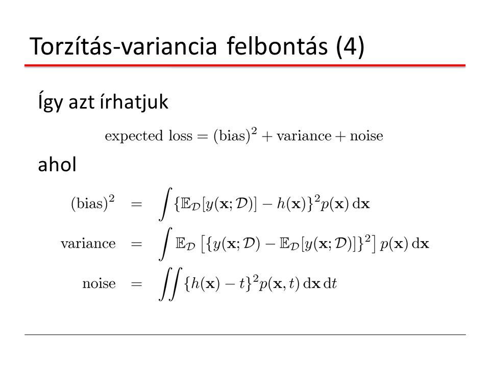 Torzítás-variancia felbontás (4) Így azt írhatjuk ahol