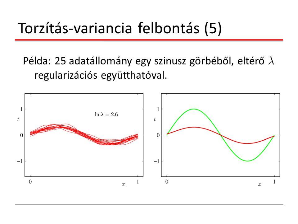 Torzítás-variancia felbontás (5) Példa: 25 adatállomány egy szinusz görbéből, eltérő ¸ regularizációs együtthatóval.