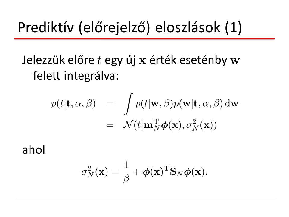 Prediktív (előrejelző) eloszlások (1) Jelezzük előre t egy új x érték eseténby w felett integrálva: ahol