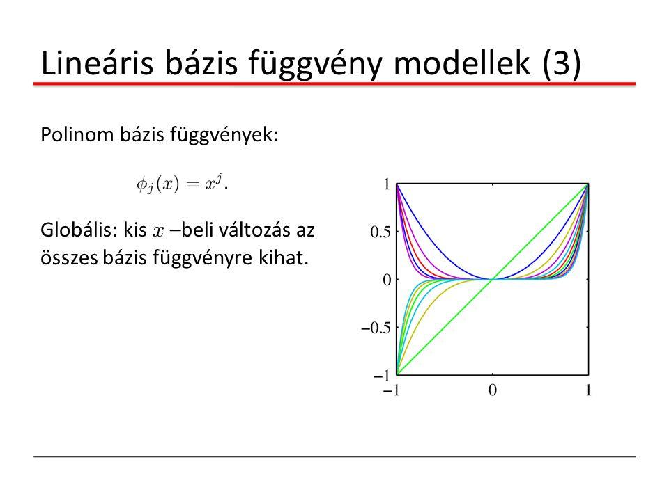 Lineáris bázis függvény modellek (3) Polinom bázis függvények: Globális: kis x –beli változás az összes bázis függvényre kihat.