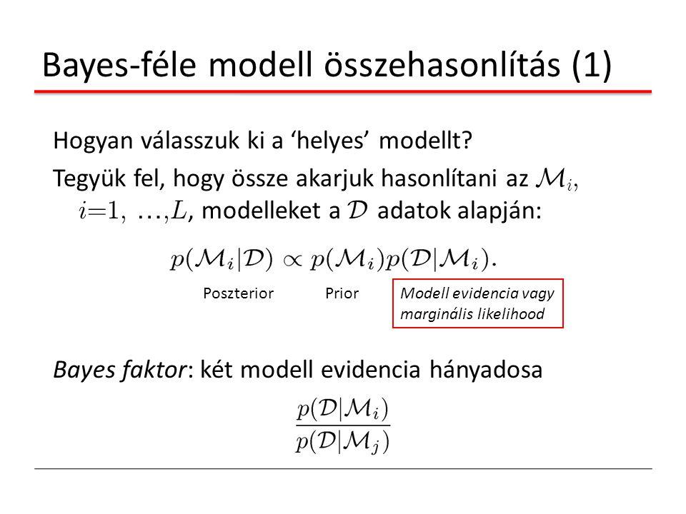Bayes-féle modell összehasonlítás (1) Hogyan válasszuk ki a 'helyes' modellt? Tegyük fel, hogy össze akarjuk hasonlítani az M i, i=1, …,L, modelleket
