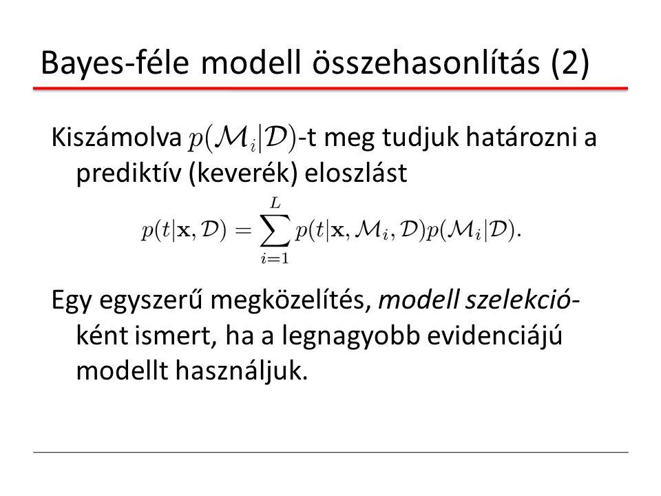 Bayes-féle modell összehasonlítás (2) Kiszámolva p( M i jD ) -t meg tudjuk határozni a prediktív (keverék) eloszlást Egy egyszerű megközelítés, modell
