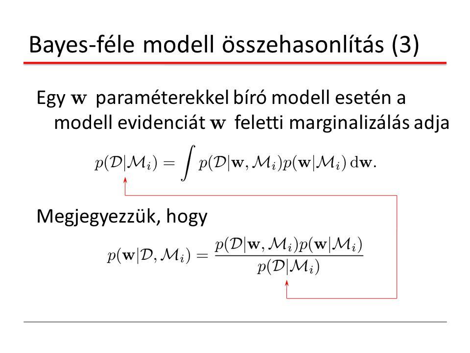 Bayes-féle modell összehasonlítás (3) Egy w paraméterekkel bíró modell esetén a modell evidenciát w feletti marginalizálás adja Megjegyezzük, hogy
