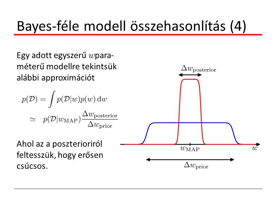 Bayes-féle modell összehasonlítás (4) Egy adott egyszerű w para- méterű modellre tekintsük az alábbi approximációt Ahol az a poszterioriról feltesszük