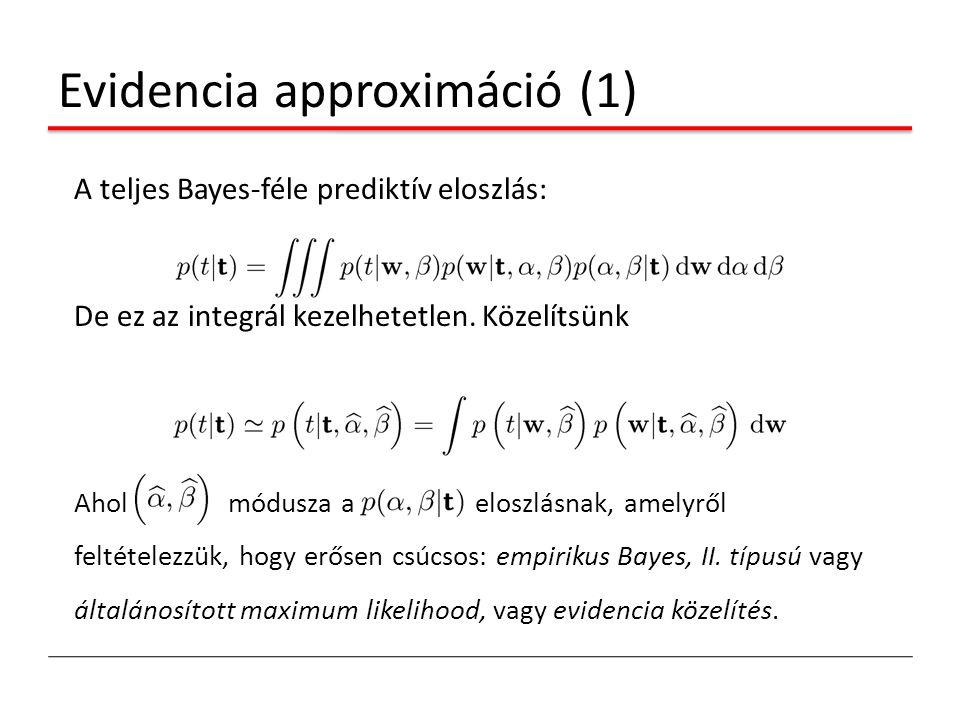 Evidencia approximáció (1) A teljes Bayes-féle prediktív eloszlás: De ez az integrál kezelhetetlen. Közelítsünk Ahol módusza a eloszlásnak, amelyről f