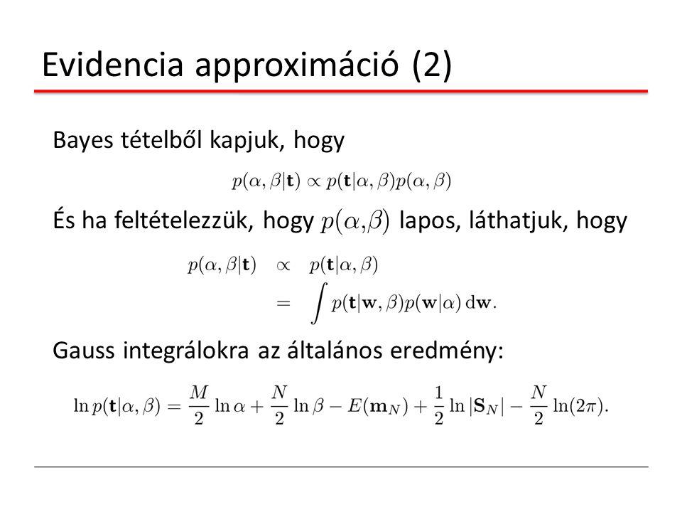 Evidencia approximáció (2) Bayes tételből kapjuk, hogy És ha feltételezzük, hogy p(®,¯) lapos, láthatjuk, hogy Gauss integrálokra az általános eredmén