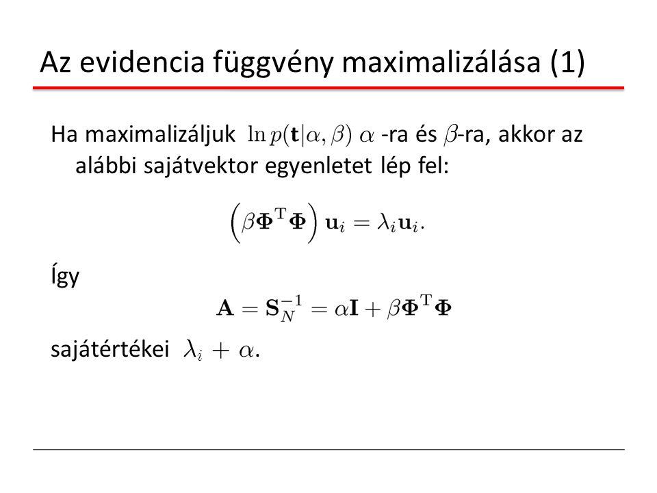 Az evidencia függvény maximalizálása (1) Ha maximalizáljuk ® -ra és ¯ -ra, akkor az alábbi sajátvektor egyenletet lép fel: Így sajátértékei ¸ i + ®.