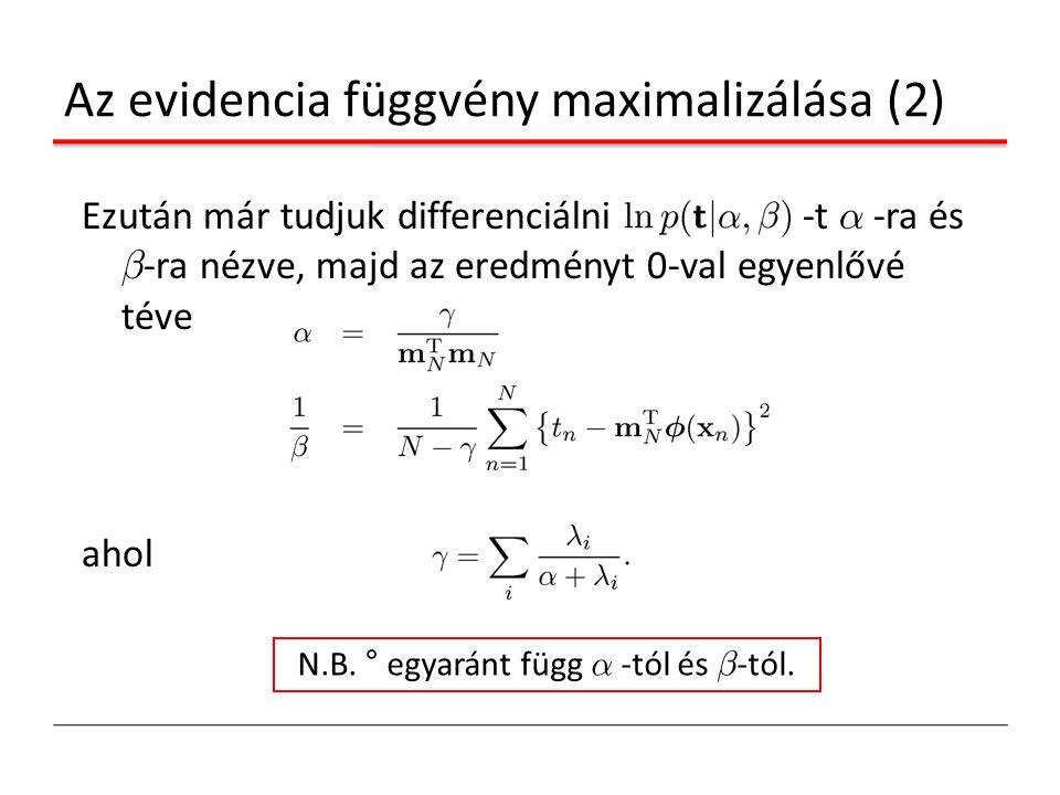 Az evidencia függvény maximalizálása (2) Ezután már tudjuk differenciálni -t ® -ra és ¯ -ra nézve, majd az eredményt 0-val egyenlővé téve ahol N.B. °