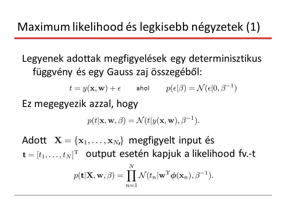 Maximum likelihood és legkisebb négyzetek (1) Legyenek adottak megfigyelések egy determinisztikus függvény és egy Gauss zaj összegéből: Ez megegyezik