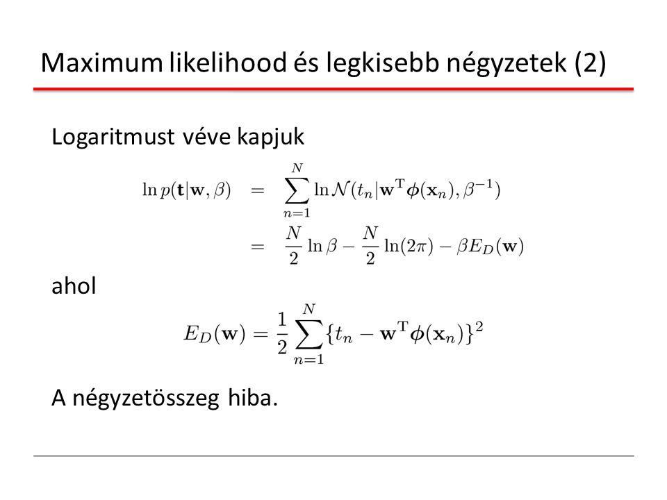Maximum likelihood és legkisebb négyzetek (2) Logaritmust véve kapjuk ahol A négyzetösszeg hiba.