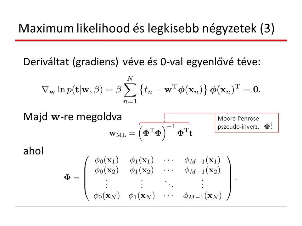 Deriváltat (gradiens) véve és 0-val egyenlővé téve: Majd w -re megoldva ahol Maximum likelihood és legkisebb négyzetek (3) Moore-Penrose pszeudo-inver