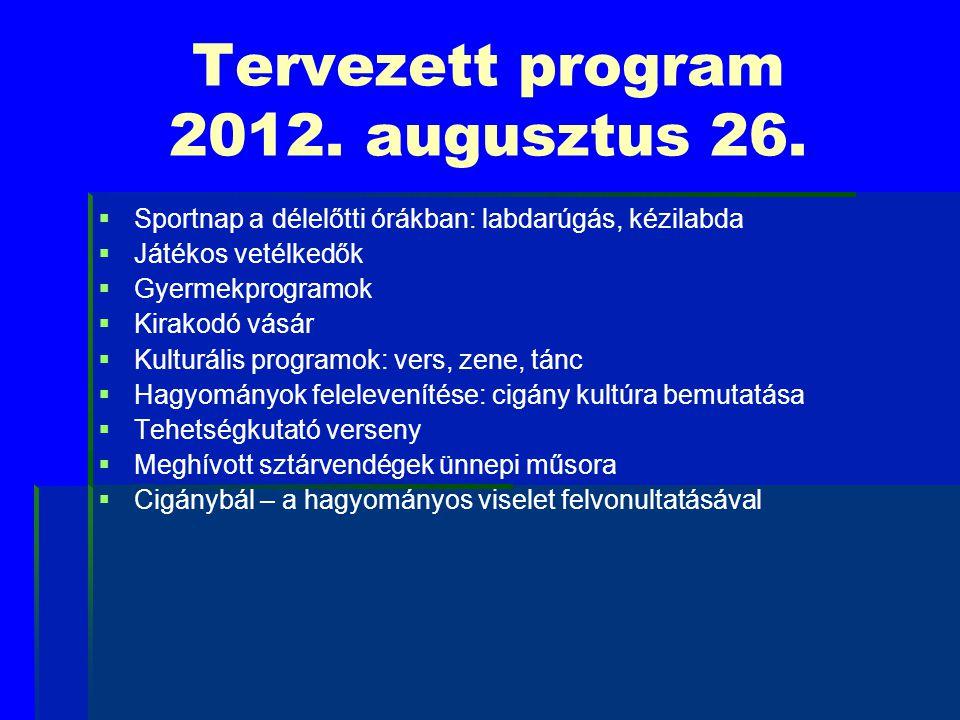 Tervezett program 2012. augusztus 26.   Sportnap a délelőtti órákban: labdarúgás, kézilabda   Játékos vetélkedők   Gyermekprogramok   Kirakodó