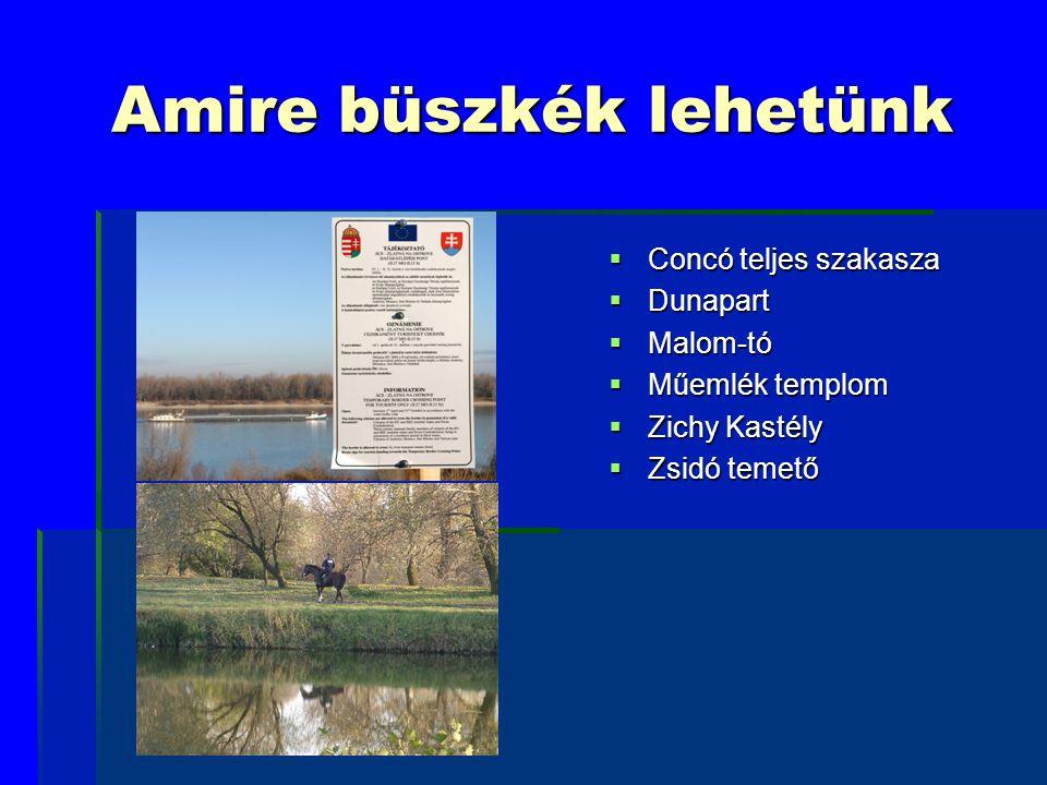 Amire büszkék lehetünk  Concó teljes szakasza  Dunapart  Malom-tó  Műemlék templom  Zichy Kastély  Zsidó temető