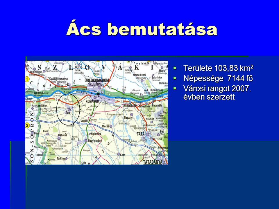 Ács bemutatása  Területe 103,83 km 2  Népessége 7144 fő  Városi rangot 2007. évben szerzett