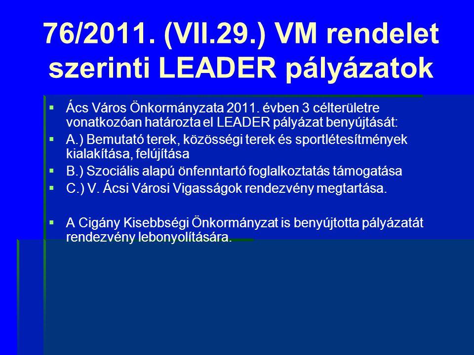 76/2011. (VII.29.) VM rendelet szerinti LEADER pályázatok   Ács Város Önkormányzata 2011. évben 3 célterületre vonatkozóan határozta el LEADER pályá
