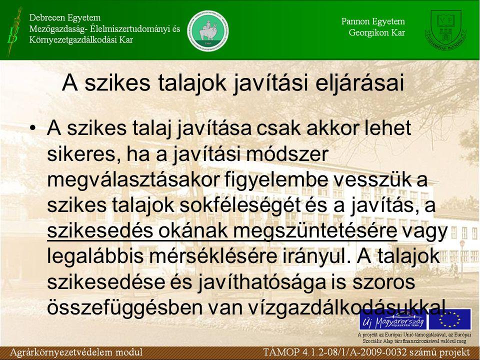 A termesztett növények sótűrőképessége (Szabolcs, 1979 nyomán) TűrőképességNövény Erősen sótűrőcukorrépa, takarmányrépa, lucerna, spárga, spenót Mérsékelten sótűrőcirok, árpa, búza, zab, rizs, kukorica, paradicsom, burgonya, hagyma, uborka Sóra érzékenyvöröshere, borsó, bab