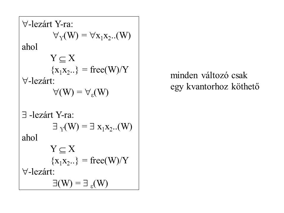  -lezárt Y-ra:  Y (W) =  x 1 x 2..(W) ahol Y  X {x 1 x 2..} = free(W)/Y  -lezárt:  (W) =   (W)  -lezárt Y-ra:  Y (W) =  x 1 x 2..(W) ahol Y