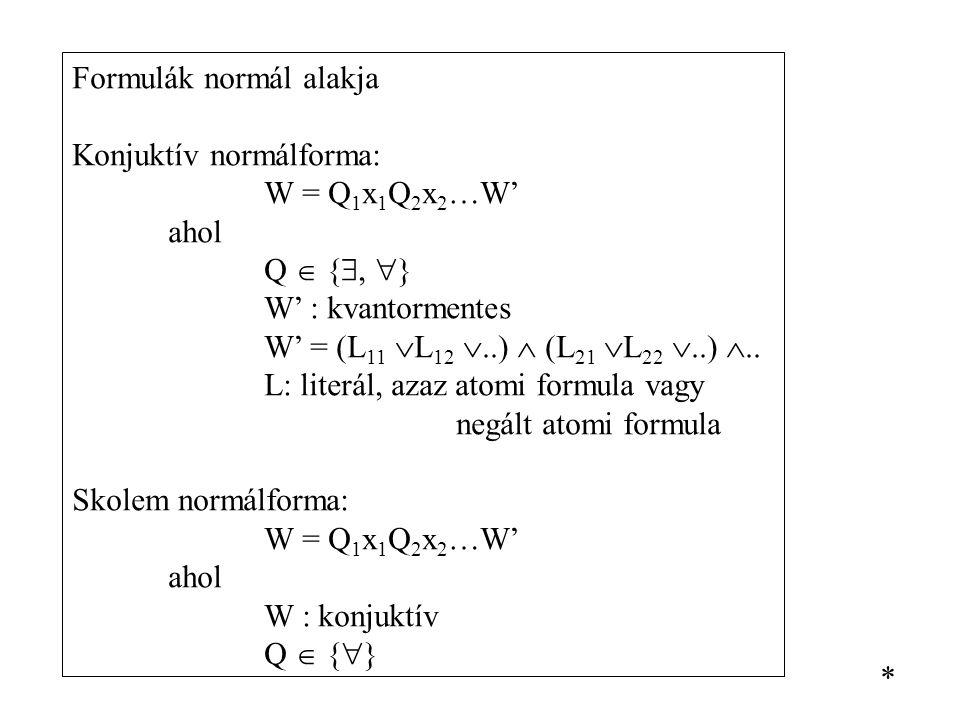 Formulák normál alakja Konjuktív normálforma: W = Q 1 x 1 Q 2 x 2 …W' ahol Q  { ,  } W' : kvantormentes W' = (L 11  L 12 ..)  (L 21  L 22 ..)