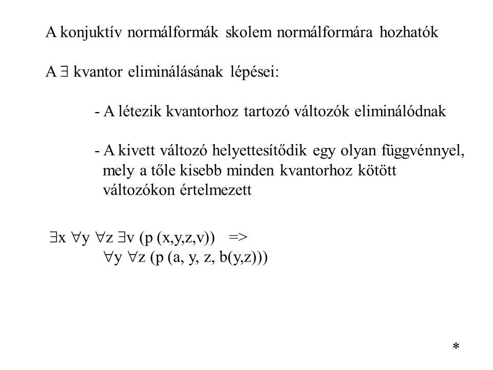 A konjuktív normálformák skolem normálformára hozhatók A  kvantor eliminálásának lépései: - A létezik kvantorhoz tartozó változók eliminálódnak - A k